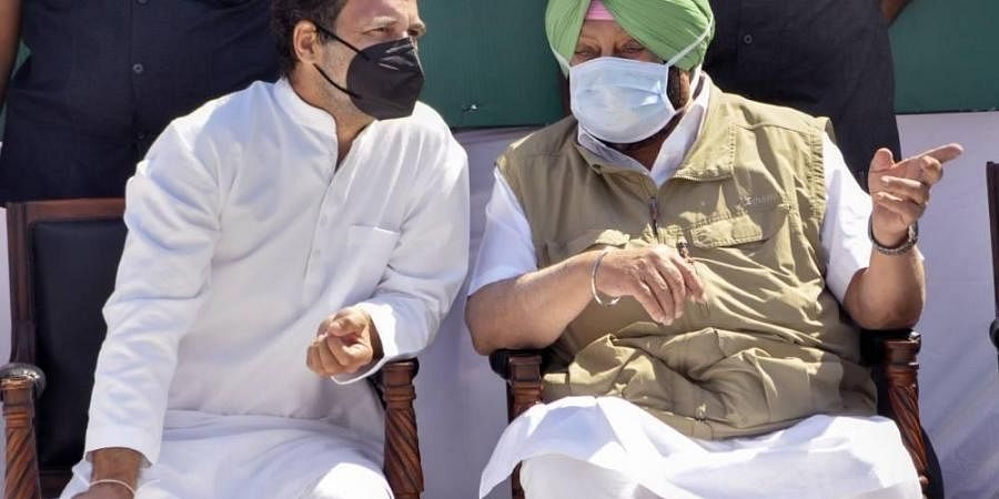 Punjab CM Capt. Amarinder Singh R and Congress leader Rahul Gandhi during 'Kheti Bachao Yatra' against the recently passed farm laws in Sangrur district