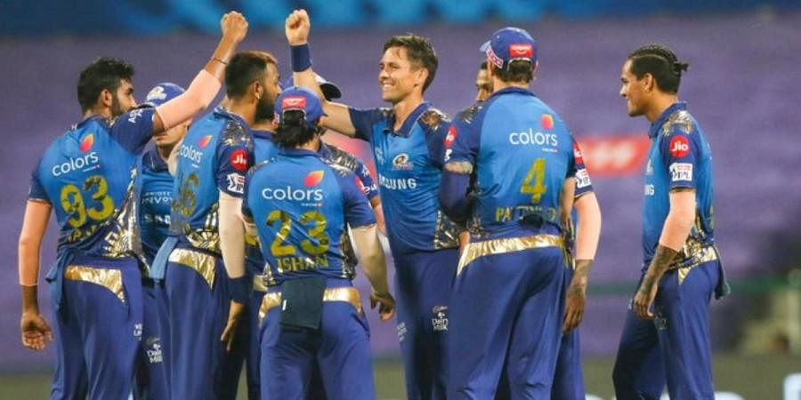 Mumbai Indians celebrate a wicket against Rajasthan Royals in IPL 2020