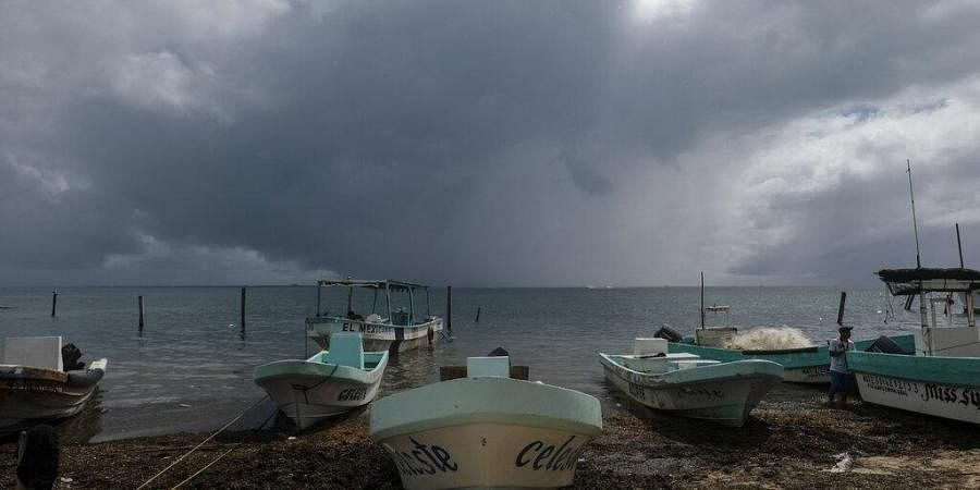 Boats sit closer to the shore after they were secured by fishermen preparing for the arrival of Hurricane Delta in Puerto Juarez, Cancun, Mexico, Tuesday, Oct. 6, 2020. (Photo | AP)