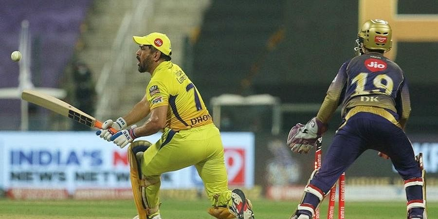 Dhoni started the 17th over with a cracking four over the covers. However, Varun Chakravarthy dismissed Dhoni in the very next ball as CSK got reduced to 129/4. (Photo   PTI)