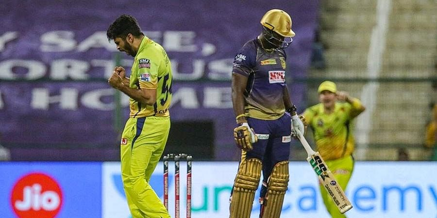 Shardul Thakur, who had given the first breakthrough by dismissing an in-form Shubman Gill (11), claimed the big wicket of Andre Russell with a cross-seam short delivery as the KKR dazzler struggled to get going. (Photo   PTI)
