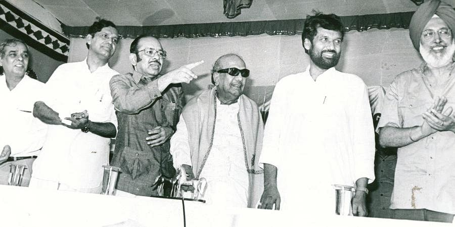 Then DMK president and Tamil Nadu CM Karunanidhi with Murasoli Maran and Ram Vilas Paswan at a function.