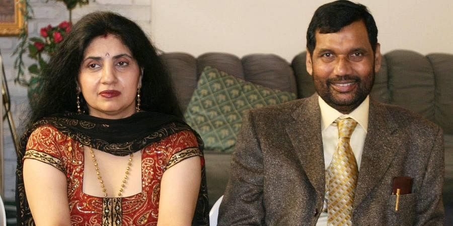 Then Union Minister of Chemicals and Fertilizers and Steel, Ram Vilas Paswan and his wife Reena Paswan at a reception in New York.