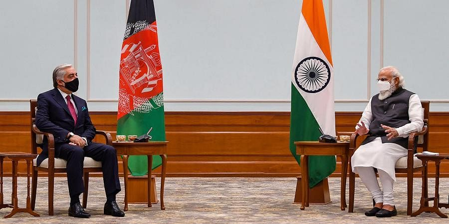 Prime Minister Narendra Modi with Head of Afghan peace council Abdullah Abdullah. (Photo| PTI)