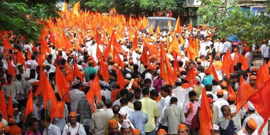 The Maratha Kranti Morcha marching towards Mumbai demanding job reservations for the Maratha community members.