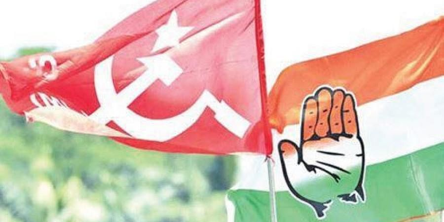 Congress and CPM flags