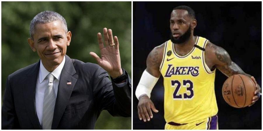 Former US president Barack Obama (L) and NBA star LeBron James