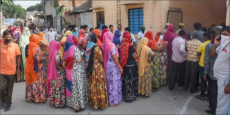 Voters stand in a queue to cast vote during the second phase of municipal elections in Jodhpur