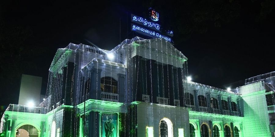 In Commemorating the formation of the Tamilnadu sate, state secretrait St. George fort been lit up with coloured lights in Chennai on Saturday.