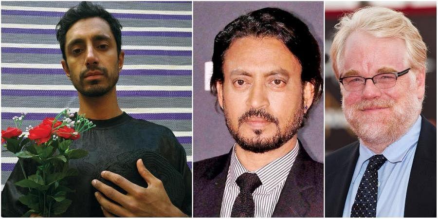British-Pakistani actor Riz Ahmed (L), Irrfan Khan and Philip Seymour Hoffman