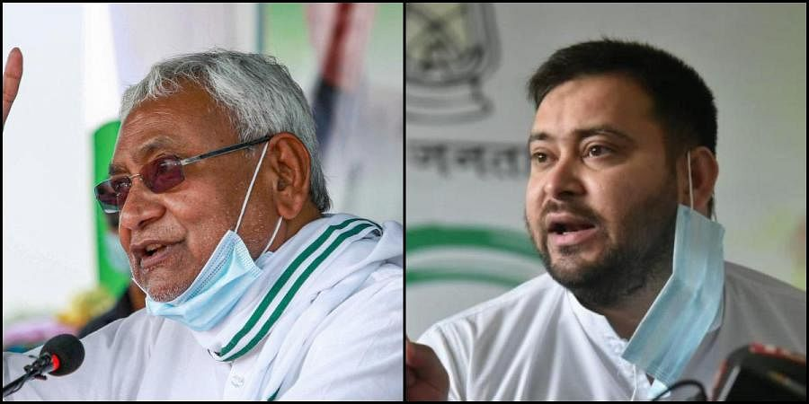 JDU supremo and Bihar CM Nitish Kumar (L) and RJD leader Tejashwi Yadav