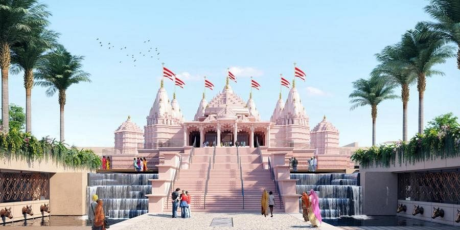 An impression of the outer structure of the Hindu temple showing the seven spires to represent the Emirates.