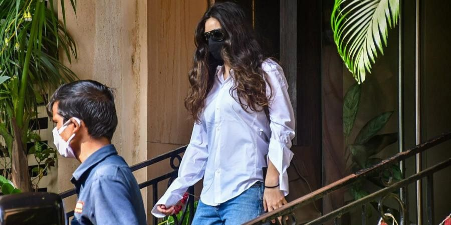 Gabriella Demetriades girlfriend of Bollywood actor Arjun Rampal leaves for NCB office after being summoned by the agency in Mumbai