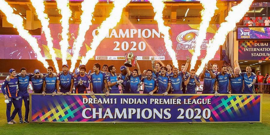 Mumbai Indians team pose with the winners trophy after winning the final cricket match of the Indian Premier League IPL T20. (Photo | PTI)