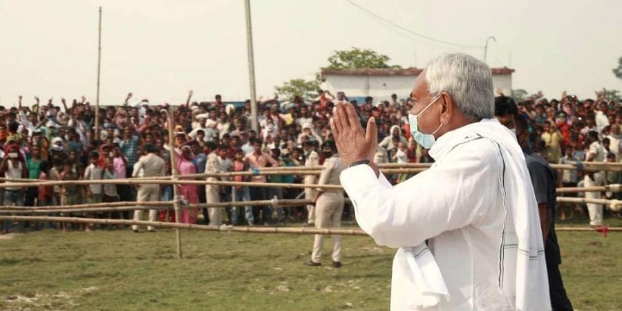 Bihar Chief Minister Nitish Kumar during an election meeting in Darbhanga