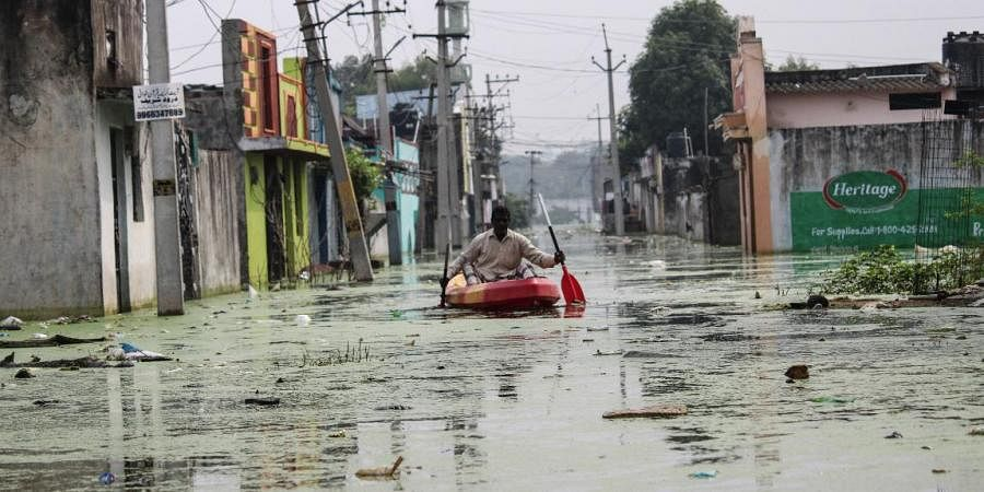Osman Nagar submerged in rainwater in Hyderabad