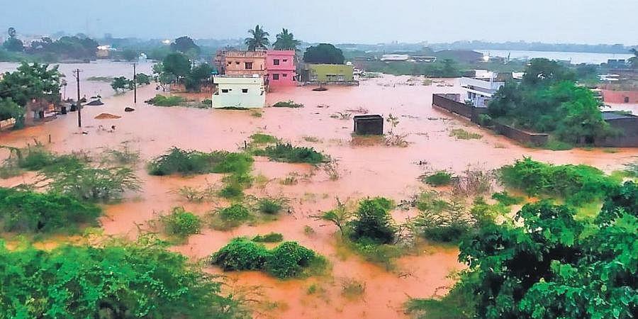Bujabuja Nellore, on the outskirts of Nellore city, submerged. (Photo | Express)