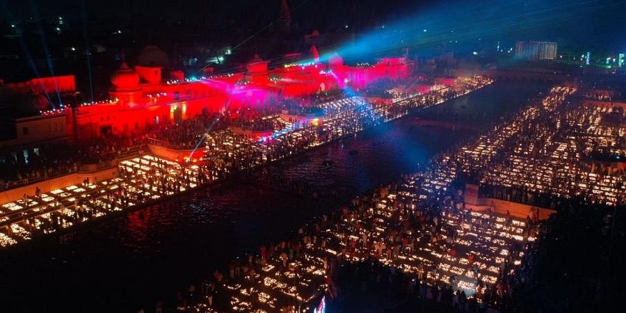 Lamps light across river Saryu in Ayodhya.