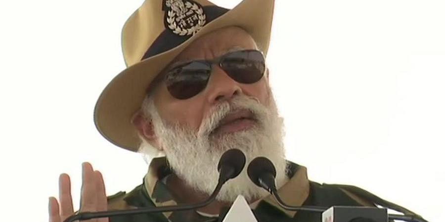 Prime Minister Narendra Modi in Longewala, Jaisalmer.
