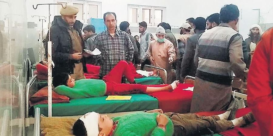 Children undergo treatment after being injured in unprovoked ceasefire violation by Pakistan in the Sawjian area of Poonch district in Jammu and Kashmir.
