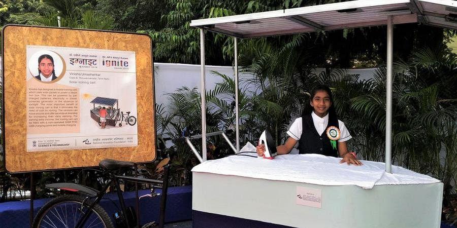 Vinisha Umashankar has won the prestigious Children's Climate Prize for designing a mobile ironing cart using solar panels to power a steam iron box. (Photo | Express)