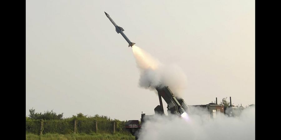 Second phase of flight test of Quick Reaction Surface to Air Missile (QRSAM) from the Integrated Test Range in Chandipur. (Photo | PTI)