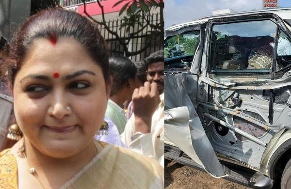 बीजेपी नेता खुशबू सुंदर तमिलनाडु के चेंगलपट्टू में कार दुर्घटना के साथ हुई, हादसे में बच गए