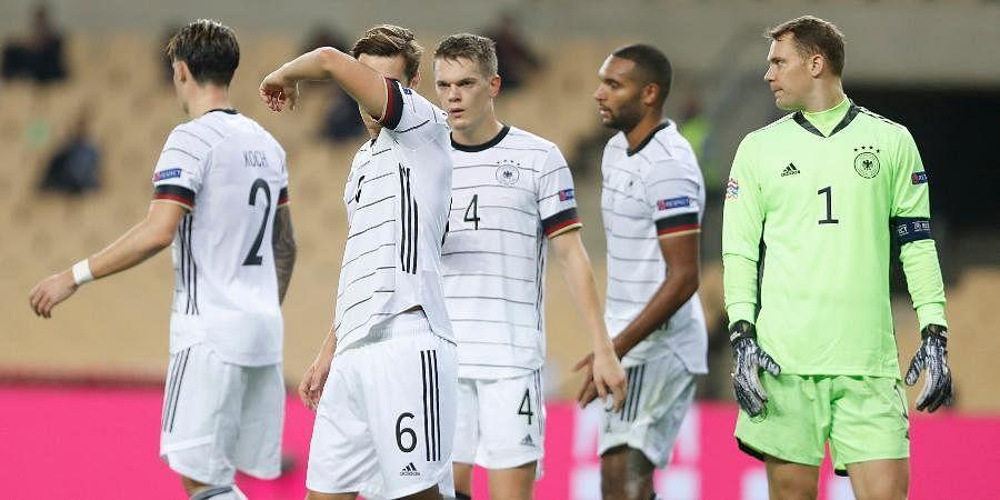 Germanplayers react following the UEFA Nations League soccer match againstSpainin Seville.