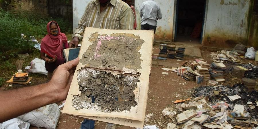 Damaged books at the Public Library in Hyderabad's Langer Houz