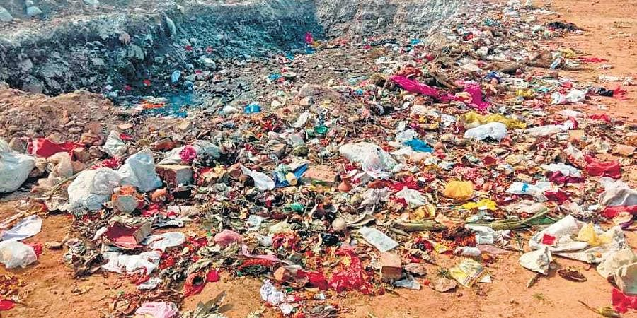 Puja waste dumped at Devi Gada in Cuttack