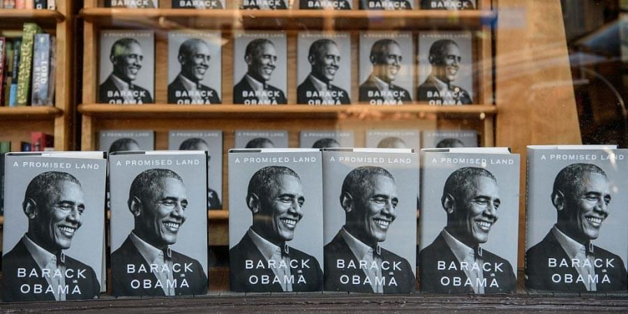 Former US President Barack Obama's new book 'A Promised Land' is seen in a bookstore in Washington, DC. (Photo   AFP)