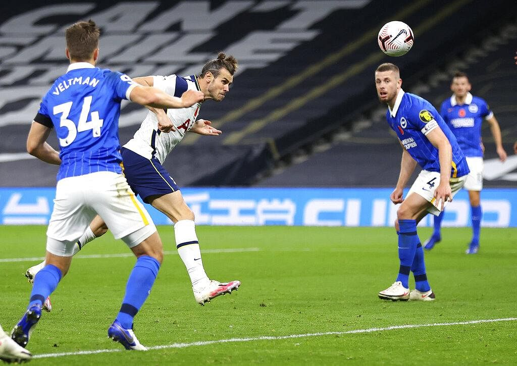 After 2,723 days, Tottenham's Gareth Bale, centre, heads the ball to score his first goal for the club since his return. Bale's goal sealed the match for spurs after a loss against Antwerp in mid-week. (Photo | AP)