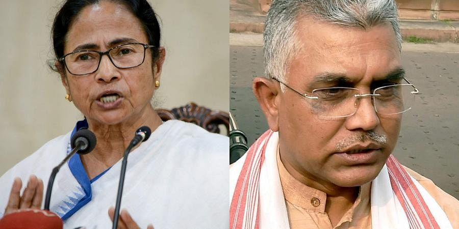 West Bengal CM Mamata Banerjee (L) and BJP leader Dilip Ghosh