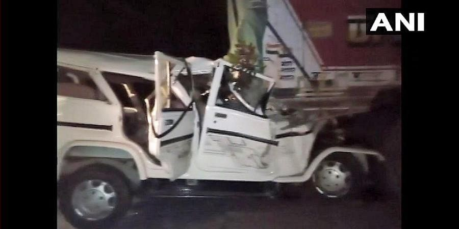 The SUV's damaged state after it collided with the truck in Pratapgarh
