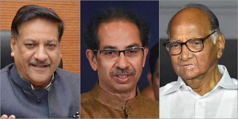 Prithviraj Chavan, Uddhav thackeray and Sharad Pawar