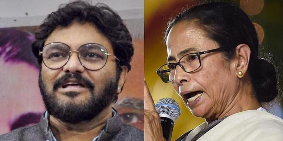 Union Minister Babul Supriyo (L) and West Bengal CM Mamata Banerjee