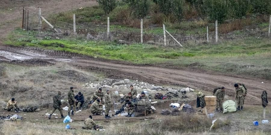 Azerbaijan's soldiers set-up a check point close to the demarcation line outside Aghdam on November 21, 2020.