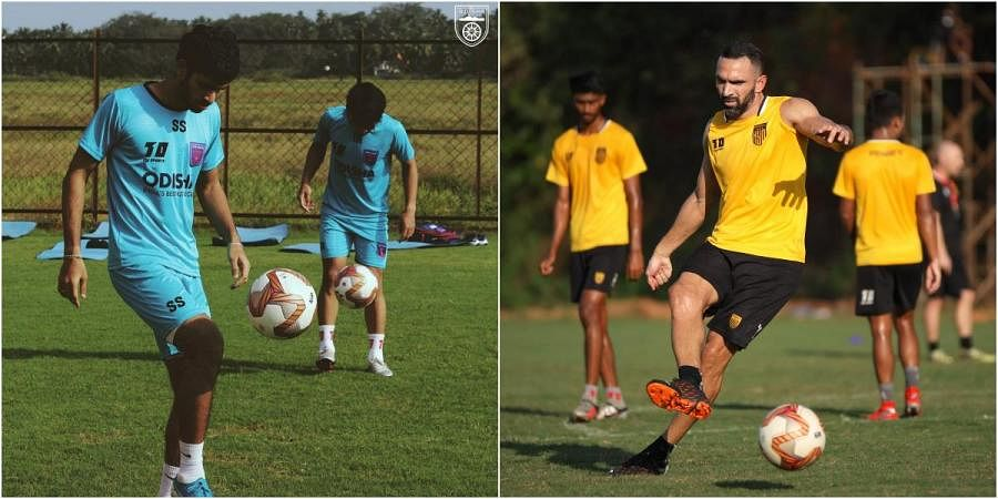 Odisha FC (L) and Hyderabad FC players train ahead of their clash in this season of Indian Super League