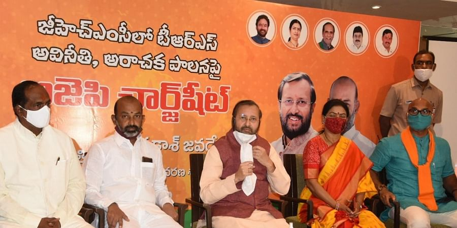 Union Minister Prakash Javdekar, Union Minister of State Home G Kishan Reddy and BJP Telangana president Bandi Sanjay release 'Chargsheet' on TRS Government in Hyderabad on Sunday.