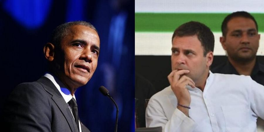 Former US president Barack Obama (L) and Congress leader Rahul Gandhi (R)