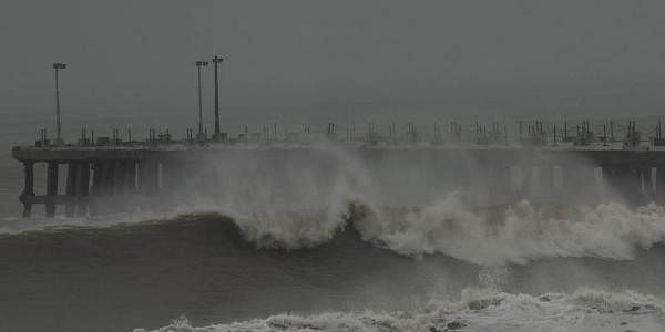 Giant waves hit the Puducherry coast on Wednesday before the landfall of Cyclone Nivar (Photo |EPS/G Pattabi Raman)
