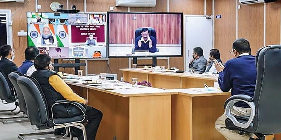 CM Arvind Kejriwal speaks in a video conference with PM Modi regarding Covid.