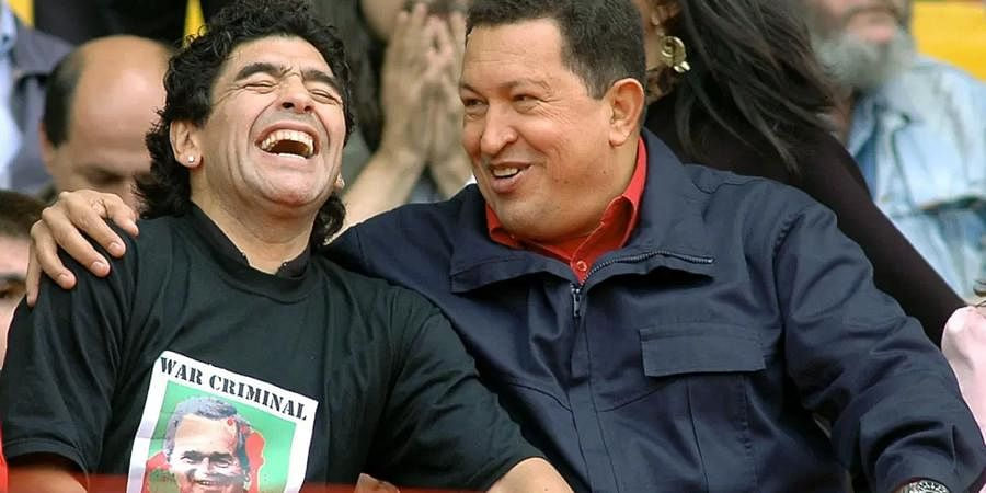 Maradona's allegiance to the Latin American Leftwing isn't limited to Cuba. He was greatly inspired by Venezuela's Bolivarian revolution spearheaded by Hugo Chavez. Maradona was an ardent supporter of Chavez's radical plans to redistribute income and education to the underprivileged. (Photo | AFP)