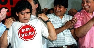 Maradona's love for the Leftist regimes also meant dislike for the 'capitalist USA.'  According to Reuters, on a talk show hosted by Chavez, Diego once declared that he 'hate everything that comes from the United States. I hate it with all my strength.'