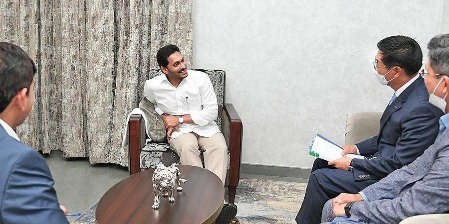 A KIA Motors delegation, consisting of KIA Motors (India) MD Kookhyun Shim, its legal head Jude Lee and Principal Advisor Somashekar Reddy, calls on Chief Minister YS Jagan Mohan Reddy to thank him fo