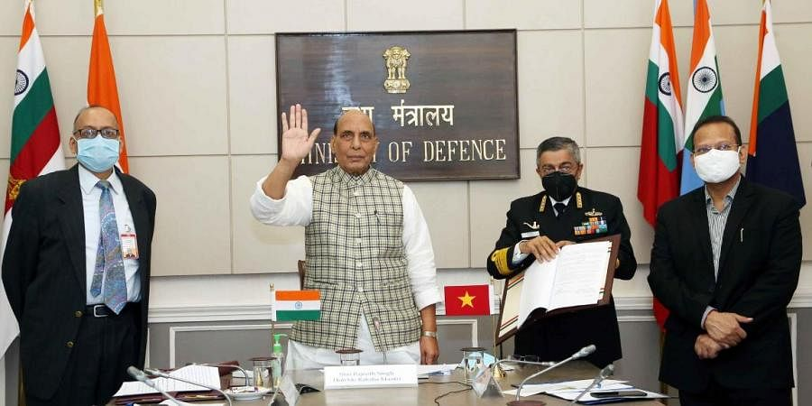 Defence minister Rajnath Singh waves to his Vietnamese counterpart General Ngo Xuan Lich via video call
