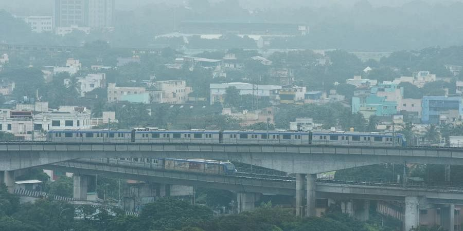 A thick blanket of smog covered the skyline of St. Thomas Mount after celebrating Diwali in Chennai on Sunday