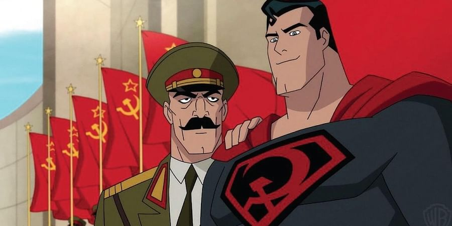 The 'S' on his chest, the Superman symbol of hope, gets replaced with hammer and sickle.