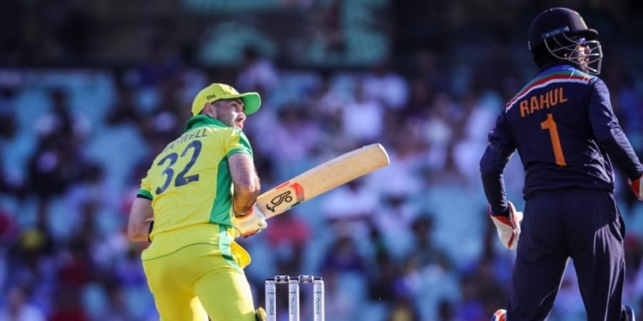 Australia's Glenn Maxwell hits a six during the one-day international cricket match against India. (Photo | AFP)