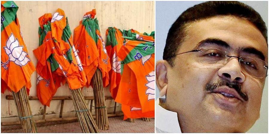 BJP flags (L) and rebel Trinamool Congress leader Suvendu Adhikari